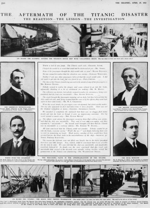 """A Guglielmo Marconi venne riconosciuto il merito di aver contribuito, con la sua scoperta, a salvare centinaia di vite dal disastro del Titanic, grazie al segnale di SOS che fu lanciato via radio poco prima di affondare (qui, su una pagina del The Graphic del 27 aprile del 1912 è indicato come """"Il vero salvatore"""")"""