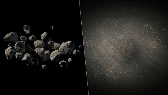 Rappresentazione artistica dei due possibili aspetti che potrebbe avere 2011 MD (AP Photo/NASA/JPL Caltech)