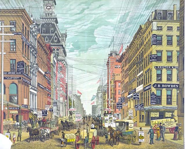 11 foto di come erano le città quando i fili del telefono correvano in cielo