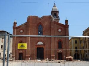 La Cattedrale di Mirandola, uno dei simboli del terremoto in Emilia nel 2012.