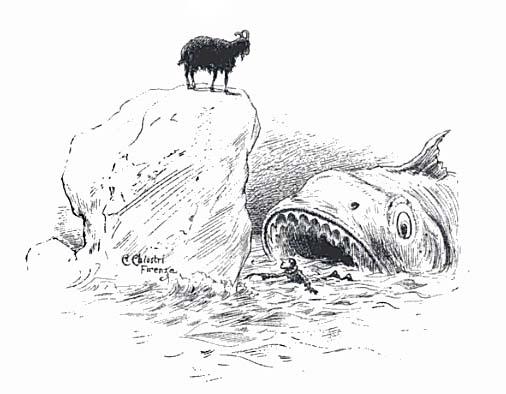Il Terribile Pesce–cane che inghiotte Pinocchio in un'illustrazione del libro (via Wikipedia)