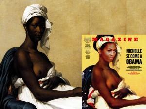 Michelle Obama nuda in copertina come una schiava nera.