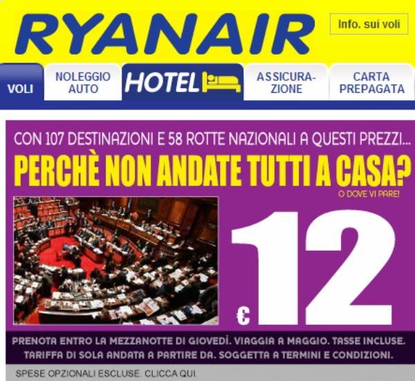 Ryanair colpisce ancora i politici italiani perch non for Tutti i politici italiani