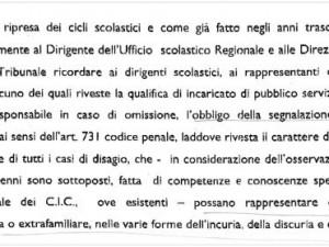 """Screenshot della """"Raccomandazione"""" del Tribunale dei Minori di Ancona"""