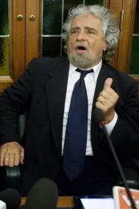 Grillo durante la Conferenza stampa del 28 ottobre scorso
