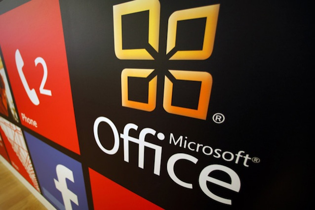 File photo of Microsoft Office logo on display at a Microsoft retail store in San Diego