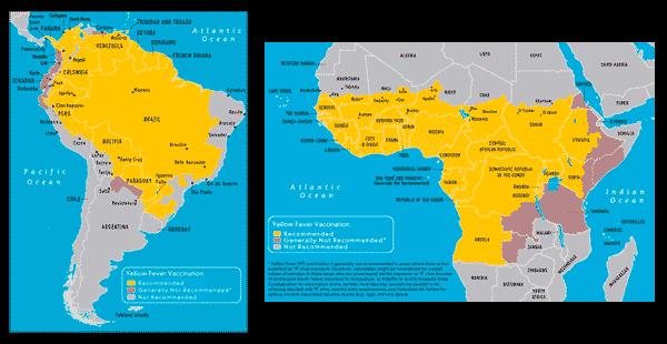 Diffusione della febbre gialla nel 2014 (Cesmet).