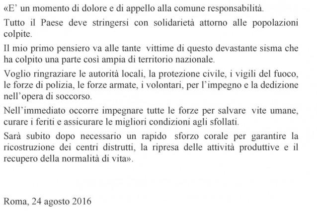 """Mattarella torna a Roma: """"Momento di dolore"""""""