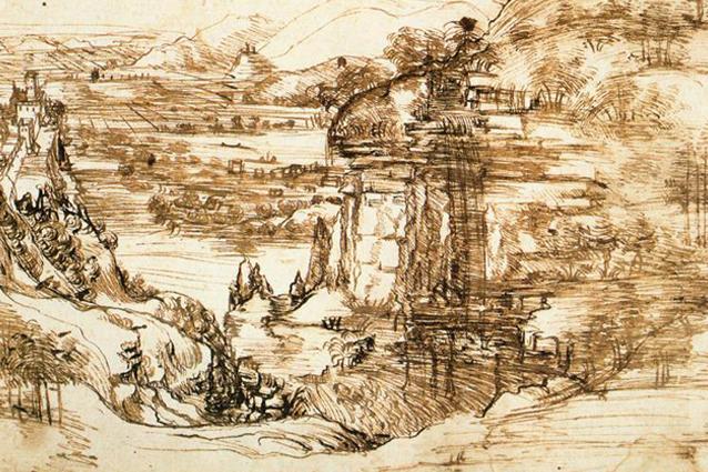 """""""Paesaggio con fiume"""" di Leonardo Da Vinci"""