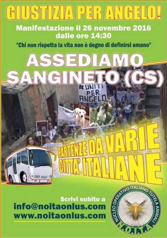 Il manifesto della manifestazione che si terrà a Sangineto per chiedere giustizia per Angelo