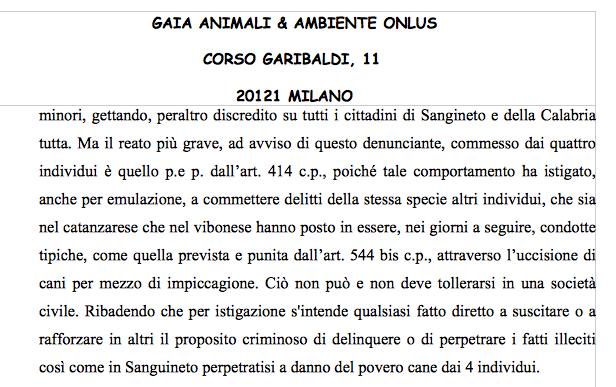 La denuncia presentata ai magistrati di Paola: i torturatori di Angelo devono essere accusati anche di istigazione a delinquere
