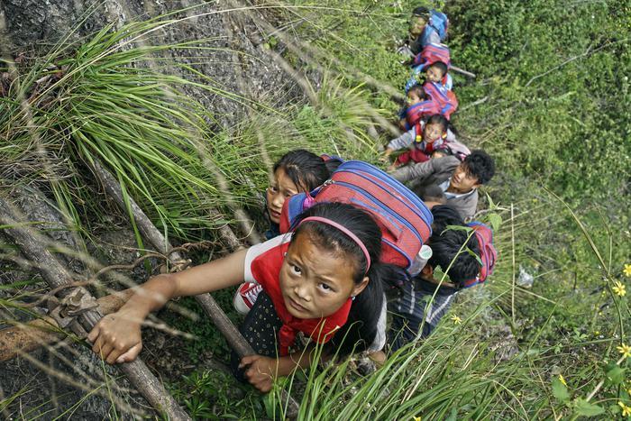 L'arrampicata degli studenti studenti su una scala a pioli