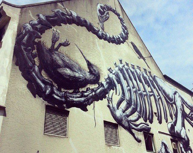Murale di ROA realizzato per il Rise Festival 2013