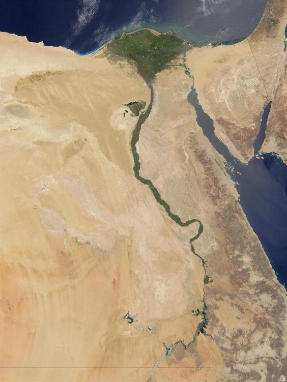 Immagine satellitare del corso del Nilo