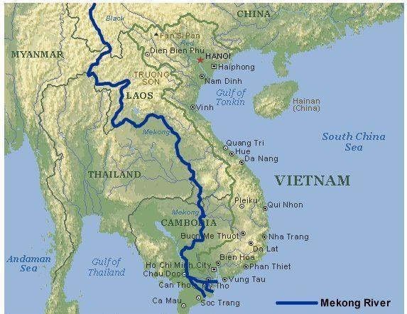 Il corso del fiume Mekong nel sud est asiatico