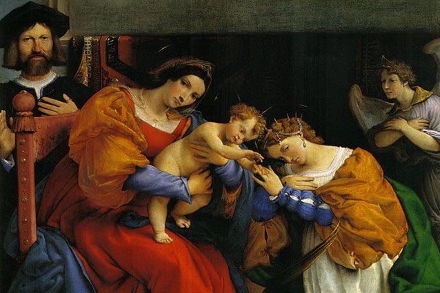 Lorenzo Lotto (Venezia, 1480 – Loreto, 1556/1557)Matrimonio mistico di Santa Caterina di Alessandria, 1523Olio su tela, cm 189,3 x 134,3Bergamo, Accademia Carrara