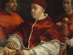 """Raffaello Sanzio, """"Ritratto di papa Leone X con i cardinali Giulio de' Medici e Luigi de' Rossi"""" (1517–1518), Firenze, Galleria degli Uffizi"""