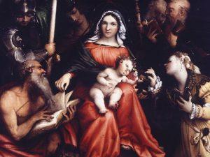 Lorenzo Lotto (Venezia, 1480 – Loreto, 1556/1557) Matrimonio mistico di Santa Caterina di Alessandria, 1524 Olio su tela, cm 98x115 Roma, Gallerie Nazionali di Arte Antica