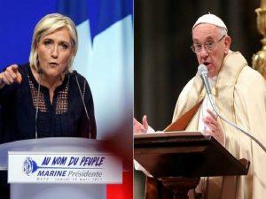 """Marine Le Pen attacca il Papa (e la Chiesa): """"Non deve immischiarsi sui migranti"""""""