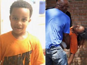 A sinistra, Kingston Frazier; a destra una foto della madre svenuta dopo aver saputo della morte