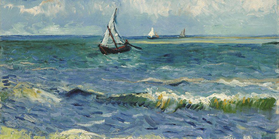 Il mare di Les Saintes Maries de la Mer, dipinto da Van Gogh nel 1888