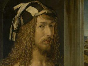 """Albrecht Dürer, """"Autoritratto con guanti"""" (1498), Museo del Prado, Madrid."""
