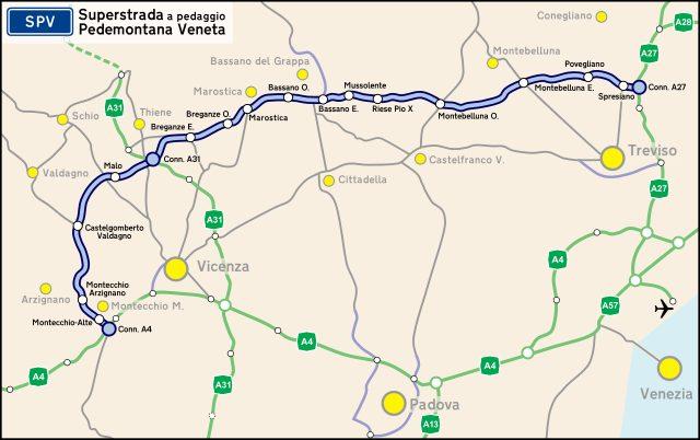 Il tracciato della Superstrada Pedemontana Veneta (Wikipedia)