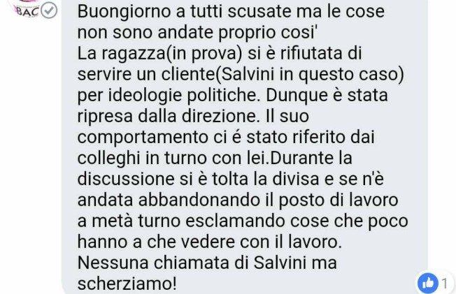 Ho perso il lavoro perché non ho servito in gelateria Salvini