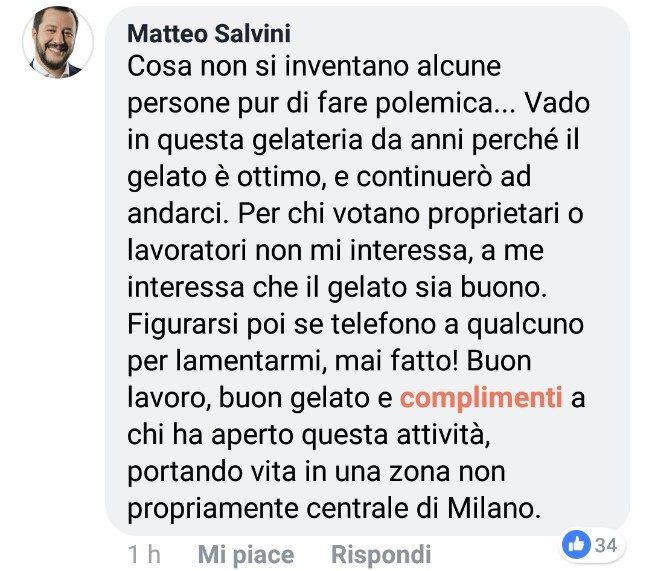 Una gelataia si rifiuta di servire Salvini e perde il lavoro