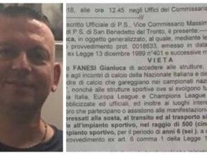 Luca Fanesi, Daspo di 6 anni. Finì in coma dopo le manganell