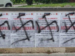 Provocazione fascista ad Ascoli |  svastiche sui manifesti che celebrano la liberazione