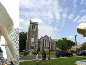 Statua di Marilyn Monroe con gonna alzata davanti alla chiesa    esplode la protesta in USA