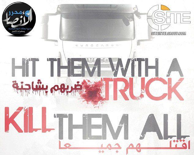 """""""Colpiscili con un camion. Uccidili tutti"""", l'inquietante messaggio dell'Isis ai suoi militanti. (Site)"""