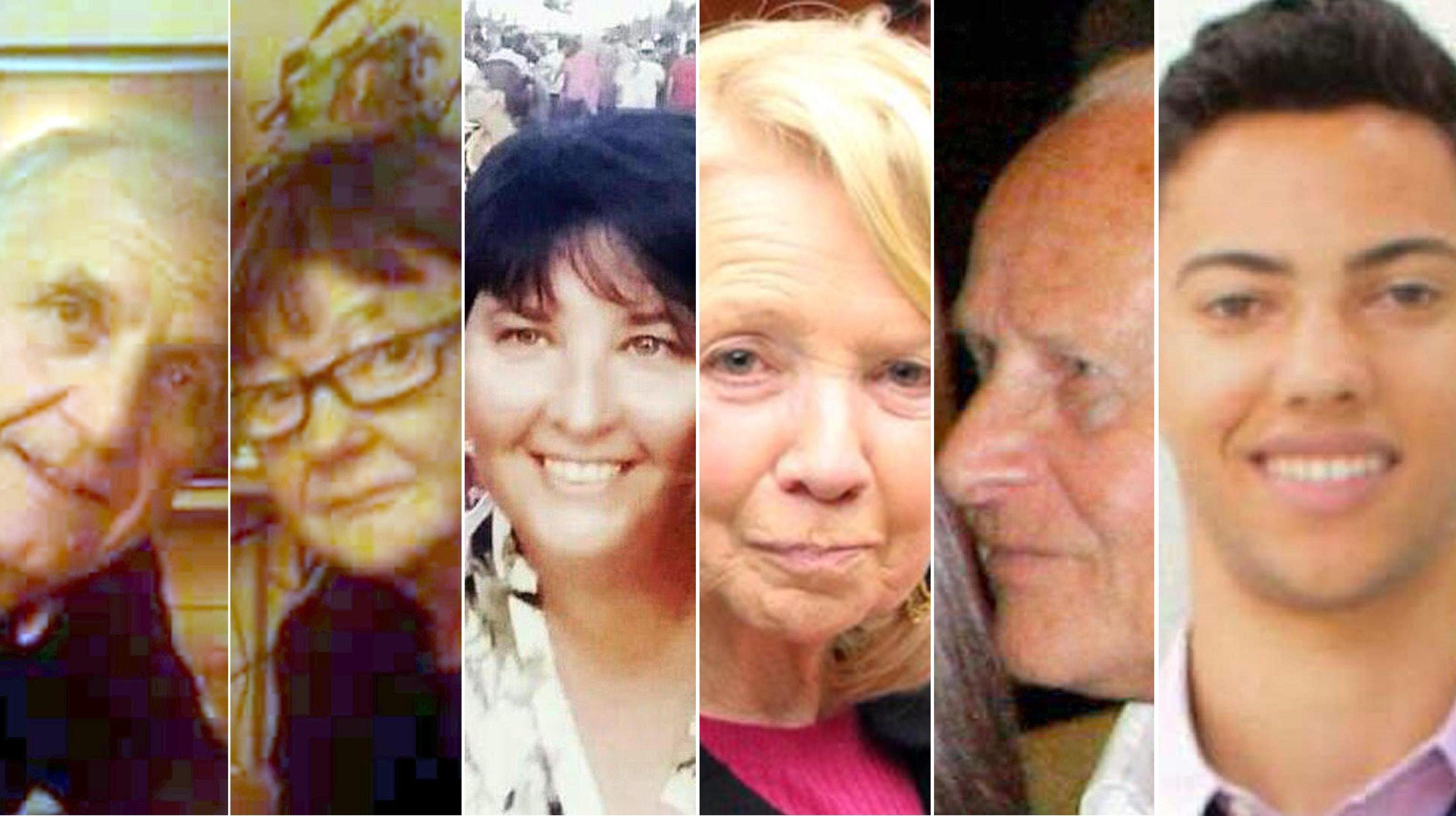 I sei italiani uccisi nella strage. Da sinistra: Angelo D'Agostino, Gianna Muset, Carla Gaveglio, Maria Grazia Ascoli, Mario Casati eNicolas Leslie.