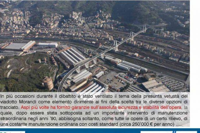 La slide di Autostrade per l'Italia sull'assoluta sicurezza del Ponte Morandi
