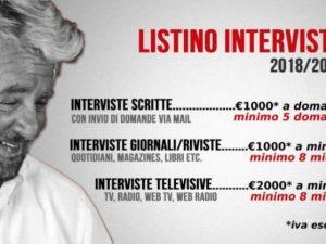 Beppe Grillo lancia il 'tariffario' per le interviste del 20