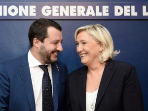 Matteo Salvini e Marine Le Pen si incontrano a Roma al convegno dell'Ugl