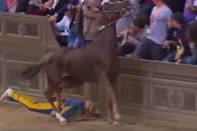 Drammatico Palio di Siena, caduta rovinosa: fantino calpestato, cavallo morto