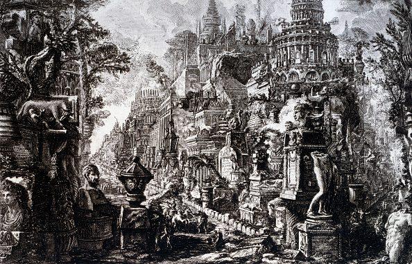 """La Via Appia immaginata da Giovanni Piranesi nelle sue """"Vedute di Roma"""", Veneranda Biblioteca Ambrosiana, Milano."""