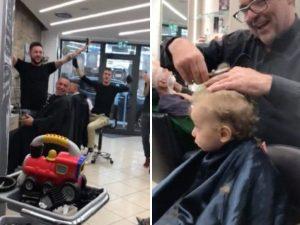 Pesaro. Il bimbo piange e non vuole farsi tagliare i capelli