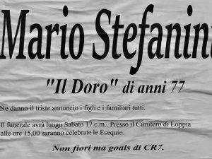 """Lucca, il manifesto funebre di un tifoso juventino: """"Non fiori ma goals di CR7"""""""
