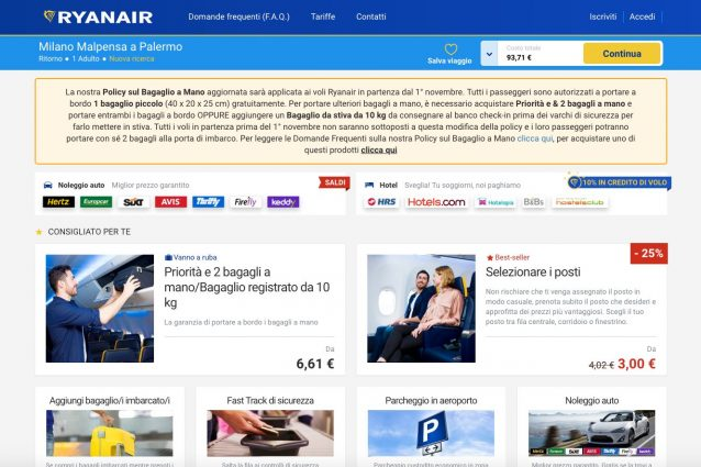 Ryanair e Wizzair, sfida all'Antitrust sui bagagli a mano