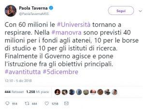 Paola Taverna annuncia 60 mln per l'Università: miliardi per le pensioni, ...
