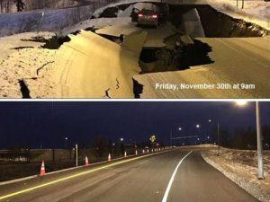 Alaska |  il terremoto distrugge la strada |  ricostruita in appena 4 giorni
