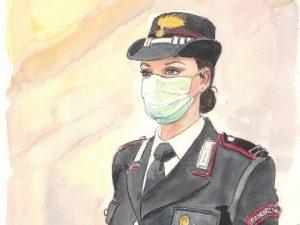 La carabiniera con la mascherina, omaggio di Milo Manara all