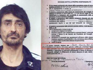 """Fermato dai carabinieri dichiara: """"Sono uscito per vendere d"""