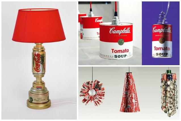 Come riciclare le vecchie lattine d u2019alluminio 10 modi per creare originali lampade -> Lampadari Fai Da Te Con Lattine