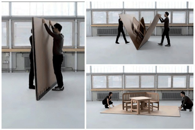 Arredi pop up da sottili cartoni a set completo di mobili for Musica rilassante da ufficio