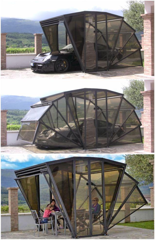 Gazebox il garage pieghevole che vi sorprender for Kit per posto auto coperto