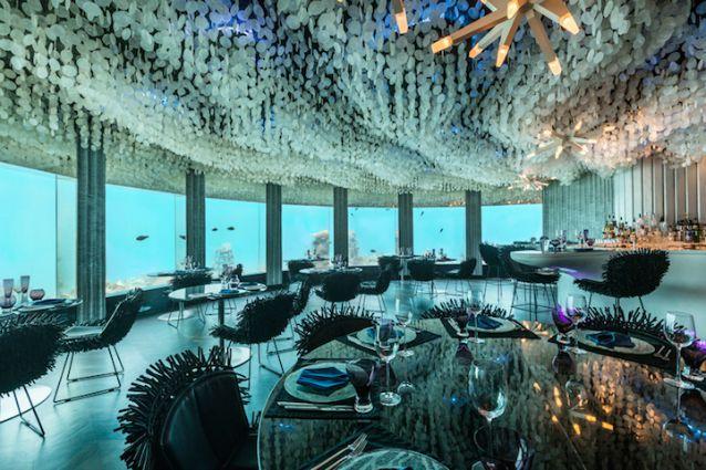 Mangiare con i pesci alle maldive il ristorante sott 39 acqua for Ristorante in baita vicino a me